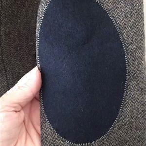 Zara wool blazer blue herringbone elbow patch